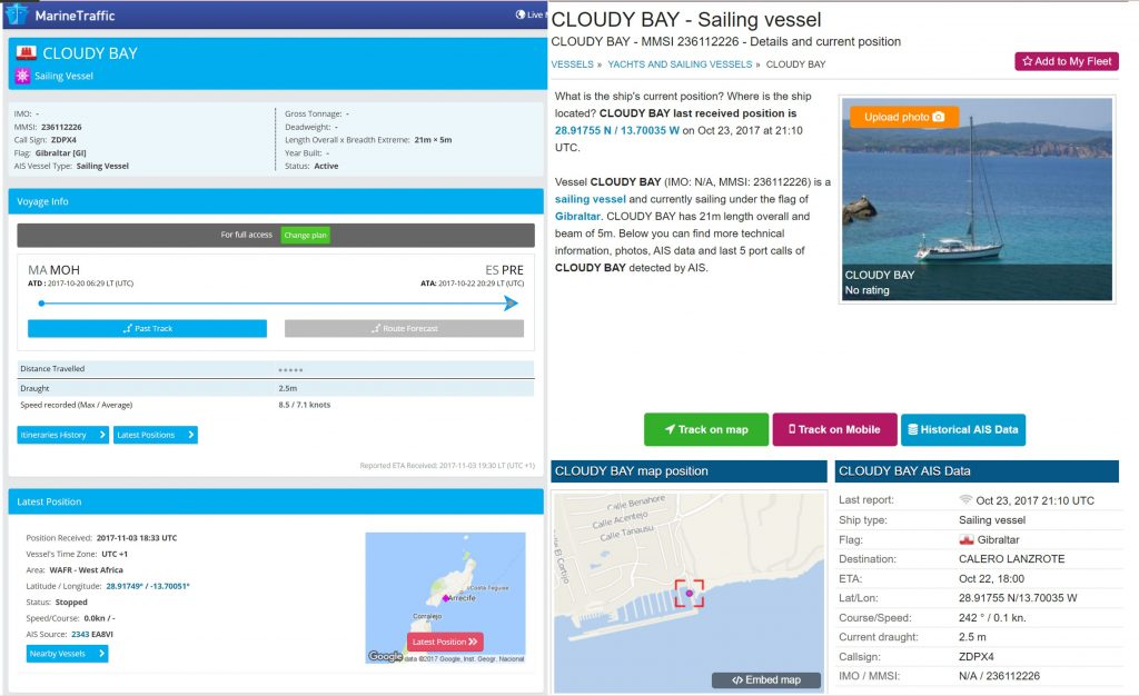 s/v Cloudy Bay - boat location via Vessel Finder or Marine Traffic