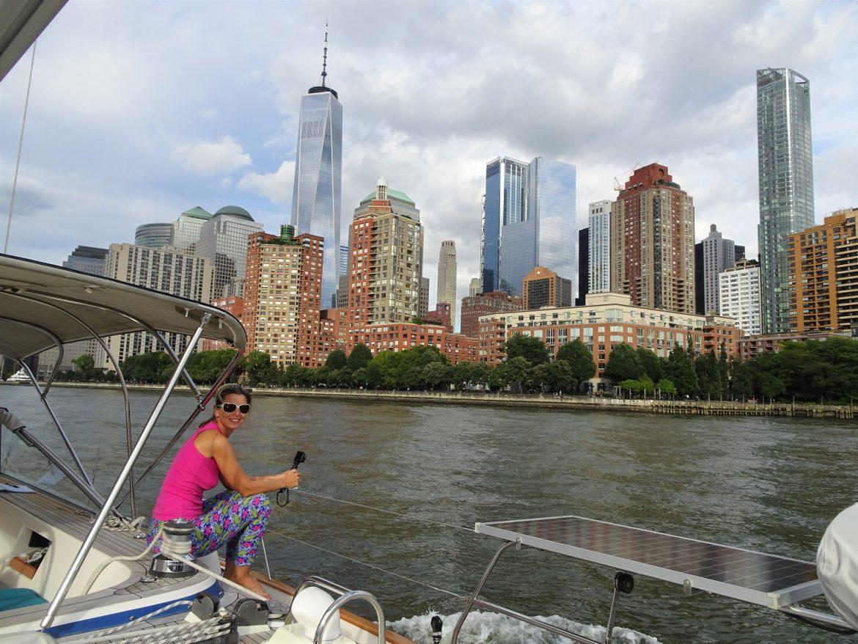 Leave Huntington, pass Manhattan and anchor Sandy Hook
